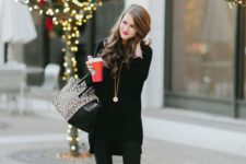 21 leather pants, a long sweater and suede ankle boots