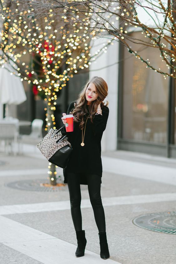 leather pants, a long sweater and suede ankle boots