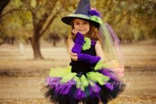21 little witch costume with a hat in bold colors