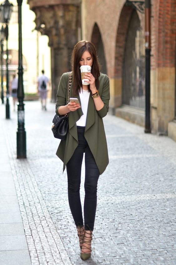 long drape khaki cardigan and lace up shoes make a cool fall statement