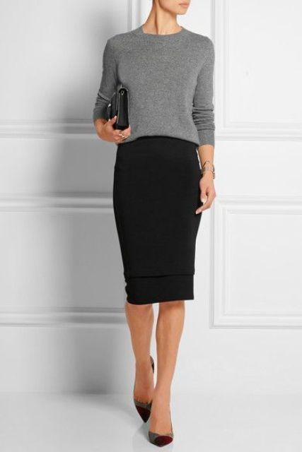 pencil skirt and a grey sweter tucked in, heels