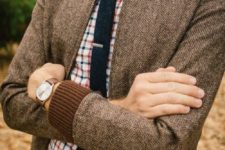 21 tweed bomber jacket with a plaid shirt and a tie