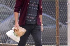 22 a burgundy cardigan is a truly fall item to rock