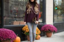 22 purple sweater, grey jeans and leopard print shoes