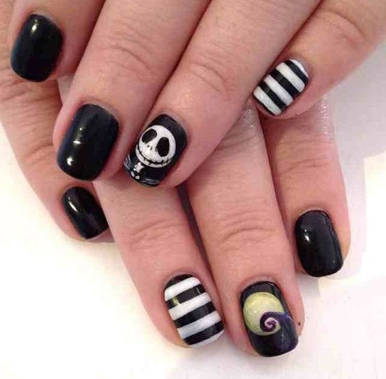 Nightmare before Christmas nails - 27 Classy And Bold Halloween Nail Designs To Try - Styleoholic