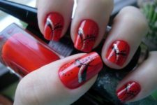 23 hot red nails with an eye-catchy design