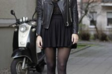 23 mini dress, a leather jacket and flat ankle boots