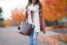 23 ripped jeans, a pink cardigan, a white scarf and nude shoes