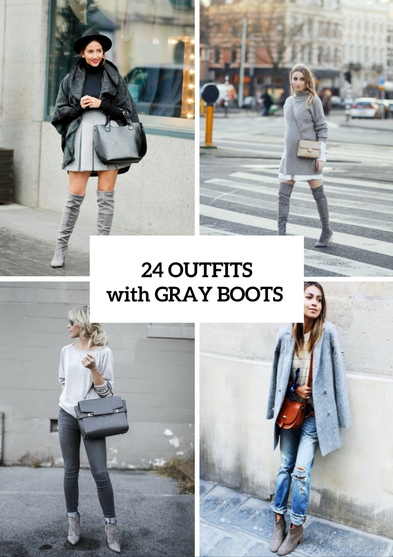 Adorable Fall Outfits With Gray Boots