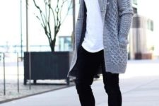 24 braid knit oversized cardigan over a white tee and black jeans