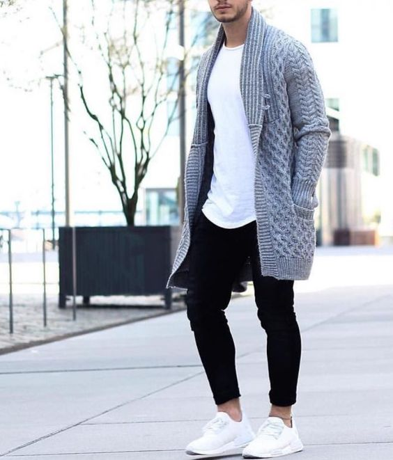 braid knit oversized cardigan over a white tee and black jeans