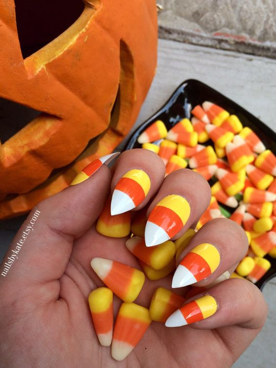 - Picture Of Bright Candy Corn Nails