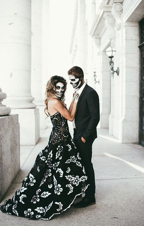 elegant skeleton Halloween couple look with makeup