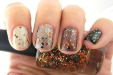 24 fall manicure with bold glitter decor