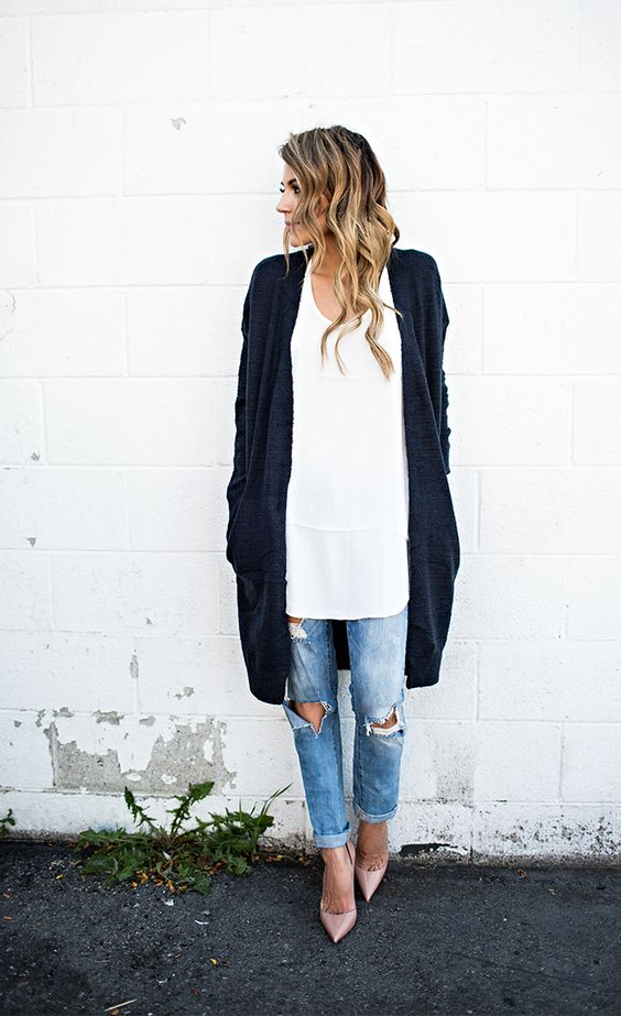 Picture Of long navy cardigan an oversized white shirt and ripped denim