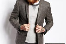 24 navy denim, a light grey jumper and a tweed jacket