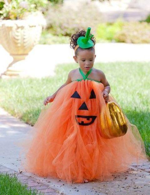 pumpkin tutu costume for those who lvoe bold colors
