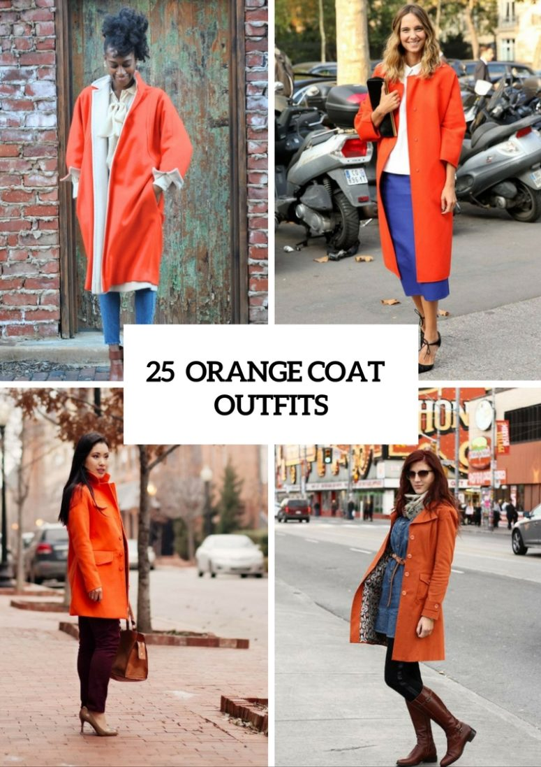 25 Eye-Catching Orange Coat Outfits For Stylish Ladies