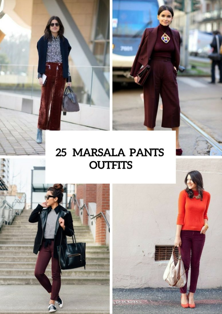 Fall Marsala Pants Outfits For Stylish Girls