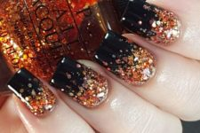 25 Halloween glitter gradient nail art in black and orange