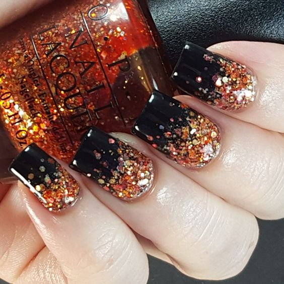 Picture Of Halloween Glitter Gradient Nail Art In Black And Orange
