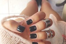 25 black nails with rhinestones