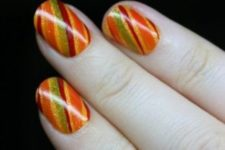 25 fall striped nails are suitable for Thanksgiving