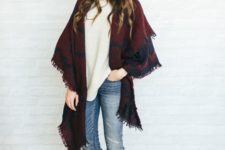 25 jeans, a white sweater, brown boots and a burgundy and black scarf