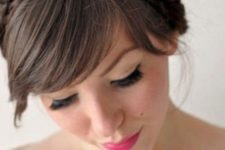 25 pair side-swept bangs with two braid headbands