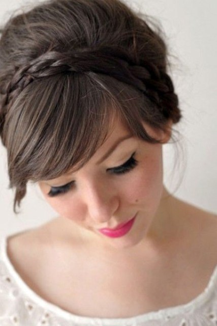 pair side-swept bangs with two braid headbands