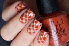 26 orange fall plaid nails