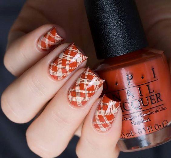 orange fall plaid nails