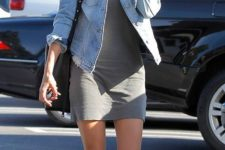 26 simple grey dress, a denim jacket and leather slip-ons