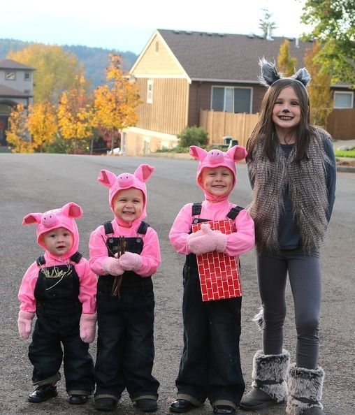 three little pigs and a big wold costume for the whole family