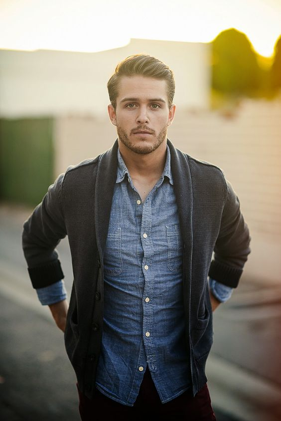 black cardigan looks great with a chambray shirt