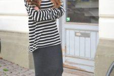 27 grey midi, a striped shirt and black Vans