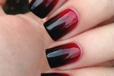 27 ombre nails from red to black