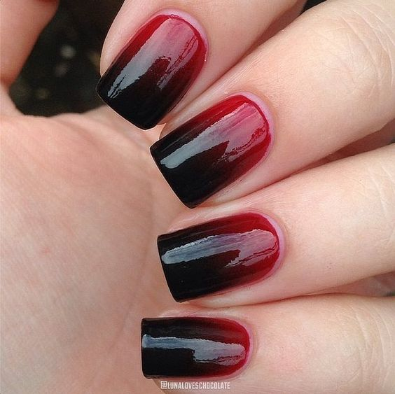 ombre nails from red to black