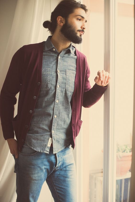 another great idea for a chambray shirt is a burgundy cardigan
