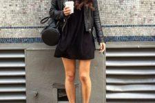 28 black skater dress, a leather jacket and black Vans