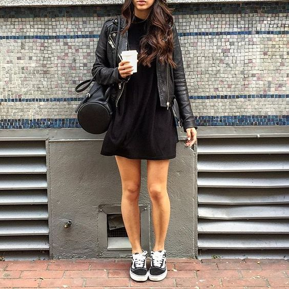 black skater dress, a leather jacket and black Vans