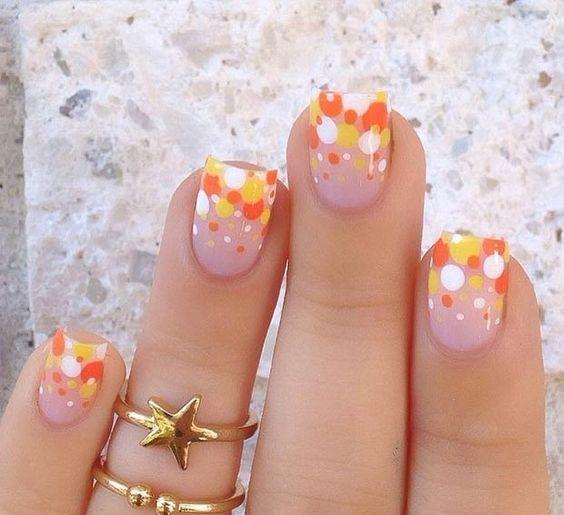 polka dot nails in bold fall colors