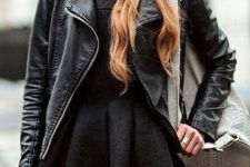 28 tights, a tweed dress, a leather jacket and a beanie