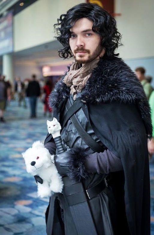 Jon Snow with his white wolf