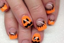 29 pumpkin and stitches nails