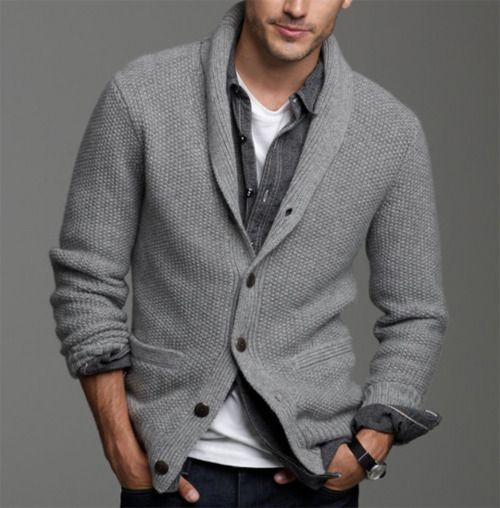 warm grey cardigan, a shirt and a tee for a cozy layered look