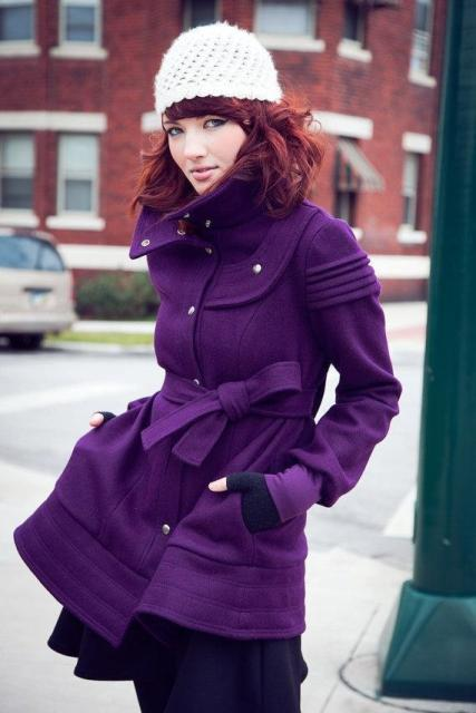 Belted coat with white hat