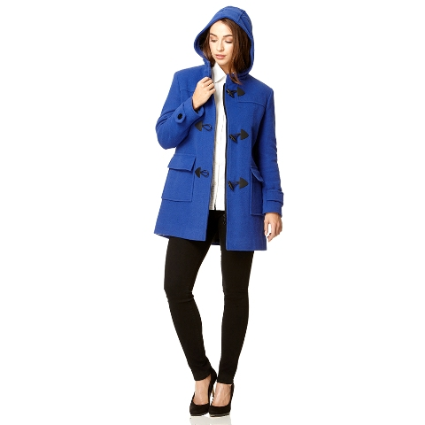 Blue coat with white shirt, black pants and pumps
