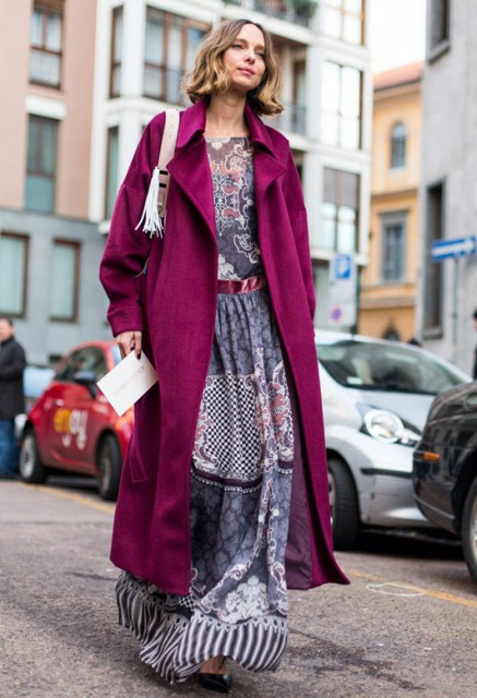 Boho look with maxi printed dress
