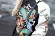 Bomber jacket with embroidery